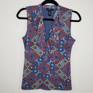 Chaps Women's Floral ruffles Sleveless Top Size S
